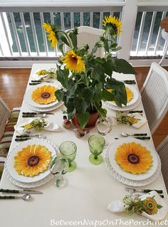 Sunflower Themed Table Setting Tablescape from Between Naps on the Porch.