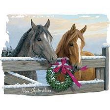 Horse Wreath Snow - Pro World