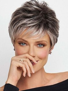 Crushing On Casual de Raquel Welch Wigs - Front Lace Perruque Monofilament Haircut For Older Women, Short Hair Cuts For Women, Pixie Hairstyles, Short Hairstyles For Women, Straight Hairstyles, Short Hair Over 60, Asymmetrical Hairstyles, Hairstyles 2016, Pixie Haircuts