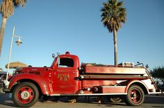 The old Avila Beach fire truck on display at the Farmers Market
