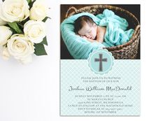 Boys Baptism Invitation Printable Baptism by PrettyLittleInvite