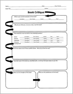 Book Critique Free Graphic Organizers for Teaching Literature and Reading Teaching Literature, Teaching Reading, Teaching Tools, Teaching Resources, Teaching Materials, Teaching Ideas, Learning, Book Review Template, Book Report Templates