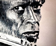"""""""All that Jazz"""" by Robbi Musser, Virginia // Hand drawn pen and ink portrait of jazz great, Miles Davis. // Imagekind.com -- Buy stunning, museum-quality fine art prints, framed prints, and canvas prints directly from independent working artists and photographers."""