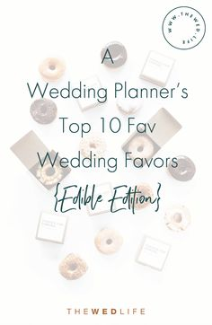 A Wedding Planner's Top 10 Wedding Favors {Edible Edition}  Wedding favors are a personal choice, some couples opt to do them, while others do not and there is no right or wrong answer. If you choose to have them, make guests feel like they are taking home a little piece of you and your special day. A souvenir for the spectacular time that they had. Favors are more than just a keepsake, they can often act as dessert, decor, tie in colors and as you will see below, they can even double as…
