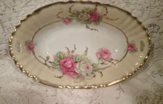 Antique Hand Painted Serving Bowl Lush Pink White Roses Ornate Gold Gilt