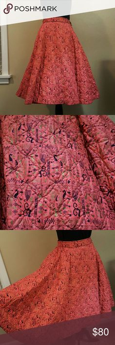"Vintage circle skirt True vintage circle skirt by Carole Chris  Quilted thick fabric in tribal like print 12.5"" waist. 26"" long. Free hips Full circle, side zipper with button closure. Single side pocket. Excellent condition! Torn about selling, hard to find something this great but hardly wear it anymore Approximately size small/medium NO TRADES Vintage Skirts Circle & Skater"
