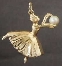 Solid 14K Yellow Gold & Freshwater Pearl, Dancer, Ballerina Charm Estate Pendant