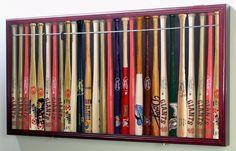 Mini MLB Baseball Display Case Cabinet Holders Rack w/ UV Protection Baseball Bat Decor, Baseball Bat Display, Baseball Bats, Baseball Stuff, Baseball Decorations, Trophy Display, Angels Baseball, Baseball Gear, Sports Memorabilia Display