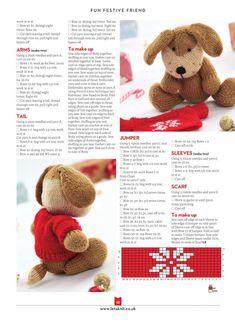 Let's Knit December 2014 Teddy Bear Knitting Pattern, Baby Cardigan Knitting Pattern Free, Animal Knitting Patterns, Crochet Dolls Free Patterns, Baby Patterns, Clothes Patterns, Loom Knitting, Free Knitting, Baby Knitting