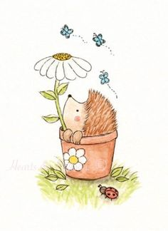Original Watercolour Hedgehog painting 5 x 7 Nursery Art......Peek a Boo Garden Flowers Wildlife Sunny Happy Boy Girl
