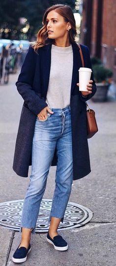 #winter #fashion /  Navy Coat + Cream Knit