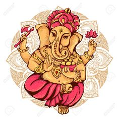 Illustration of lord Ganesh. It is used for postcards, prints, textiles, tattoo. vector art, clipart and stock vectors. Lord Ganesha, Shiva Ganesh, Ganesha Art, Ganesh Tattoo, Lord Shiva, Hindu Deities, Hinduism, Happy Ganesh Chaturthi Images, Statues