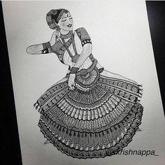 Best ideas for dancing drawings pencil Doodle Art Drawing, Zentangle Drawings, Mandala Drawing, Zentangles, Ganesha Drawing, Ganesha Art, Zentangle Patterns, Mandala Art Lesson, Mandala Artwork