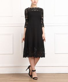 Look at this #zulilyfind! Black Lace-Trim Three-Quarter Sleeve Dress by Reborn Collection #zulilyfinds