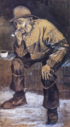 1883 Vincent Van Gogh Fisherman with a Sou'wester with a Pipe Ink, graphite and Chalk 46x26 cm Otterlo, Collection Kröller Müller Museum