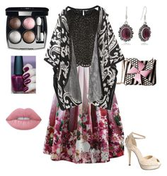 """""""You rules"""" by unpocoboho ❤ liked on Polyvore featuring Chicwish, Costarellos, Chanel, Lime Crime, Menbur and Betsey Johnson"""