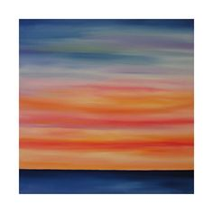 Modern Abstract Sunset on Water... LARGE 30x30...Colorful Oil Painting on Canvas by Kelly Hutchinson. $235.00, via Etsy.
