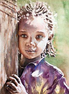 Adan J Cespedes #Watercolor Etiopía www.adanjcespedes.com