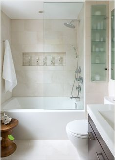 This is the inspiration photo for my bathroom makeover. It is absolutely perfect! Small Space Bathroom - contemporary - Bathroom - Other Metro - Toronto Interior Design Group Small Tub, Small Space Bathroom, White Bathroom, Simple Bathroom, Small Spaces, Master Bathroom, Bathroom Niche, Narrow Bathroom, Bathroom Modern