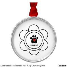 Customizable Flower and Paw Print Round Metal Christmas Ornament