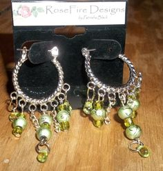 Green Dreams dangle and sparkle earrings by Patrisha Black.  OOAK E1687 by RoseFireDesigns on Etsy