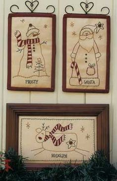 35 Ideas For Embroidery Christmas Patterns Primitive Stitchery Christmas Sewing, Christmas Embroidery, Noel Christmas, Christmas Ornaments, Diy Embroidery, Embroidery Stitches, Christmas Patchwork, Father Christmas, Vintage Embroidery