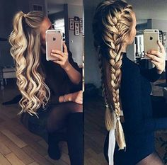 Details about Ombre Blonde Lace Front Wig inches - penteados - Cheveux Diy Hairstyles, Pretty Hairstyles, Teenage Hairstyles, Girls Braided Hairstyles, Crimped Hairstyles, Casual Hairstyles For Long Hair, Concert Hairstyles, No Heat Hairstyles, Amazing Hairstyles