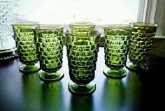Vintage 6 Indiana Glass Whitehall Fostoria American Green Tumblers Glasses 1960s