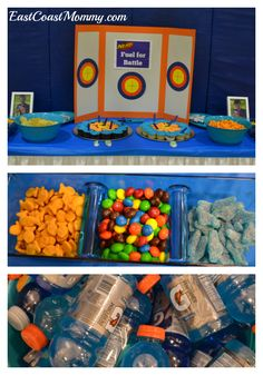 The DIY NERF party details on this website are awesome! Birthday Snacks, Birthday Party Games For Kids, Birthday Party Snacks, Nerf Party, Birthday Party Decorations Diy, Birthday Fun, Birthday Ideas, Easter Crafts, Nerf Gun