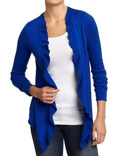 Women's Ruffled Open-Front Cardis....want one in every color!