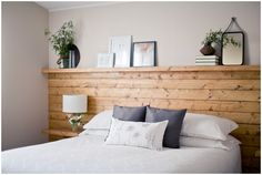 Natural wood shiplap headboard wall with floating nightstand shelves by Jamie Zanotti Shiplap Headboard, Diy Bed Headboard, Floating Headboard, Headboard With Shelves, Headboards For Beds, Floating Nightstand, Rustic Wood Headboard, Headboard Ideas, Home Bedroom