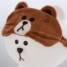 Line Friends Brown Funny Cute Sleep Eye Mask for Sleeping Aids Travel Blindfold #NaverLineFriends