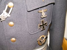 Left breast showing his medals/awards more details @ www.ww2militaria.net The Third Reich, Luftwaffe, Armed Forces, Ww2, Awards, Germany, Breast, Special Forces, Air Force