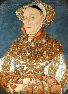 с.1537.Hedwig Jagiellon (1513-1573). Jadwiga Jagiellonka.Hans Krell (1490-1565)oil on panel. 49.1×35.8 cm. Jagdschloss Grunewald. Ядвига род.в семье польского кор. Сигизмунда I и его супруги Барбары Запольяи,дочери венгер.магната Иштвана Запольяи.1 сент.1535 в Кракове вступила в брак с курфюрстом Бранденбурга Иоахимом II.В 1541 она сопровождала мужа в Регенсбург,на рейхстаг Свящ.Рим. империи.