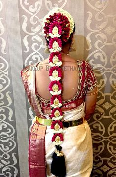 Traditional Southern Indian bride's bridal braid hair. Hairstyle by Vejetha for…