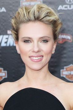 High Updo + Monotone MakeupLoose volume is what makes Scarlett Johanssons updo so appealing. Work mousse through damp hair and blow-dry upside down to build body before raking hair into a bun or twist in back. Contour your eyes with liner and shadows in different variations of the same color for an understated but elegant effect. #fashion