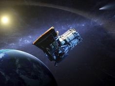 An artist's concept showing the Wide-field Infrared Survey Explorer, or WISE spacecraft, in its orbit around Earth.