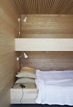 Majestic Skatoy Summer Cottage Design by Filter Arkiteketer: Awesome Wooden Bunk Bed In The Summer House Skatoy With Brown Cushions White La. Home Interior Design, Interior Architecture, Interior Decorating, Chalet Interior, Decorating Ideas, Interior Ideas, Contemporary Summer Houses, Bunk Beds Built In, Mini Loft