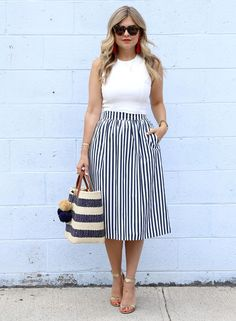 23dfa4d161 nautical vibes (white crop top + Zara striped midi skirt + Chinese Laundry  'rubie' scalloped gold sandals + mar Y sol 'capri' tote + Karen Walker  sunnies + ...