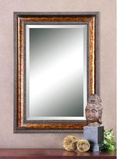 Uttermost Sinatra Gold Vanity Mirror - contemporary - Bathroom Mirrors - Chic Art and Accents Gold Vanity Mirror, Bronze Mirror, Wood Framed Mirror, Round Wall Mirror, Beveled Mirror, Floor Mirror, Entry Mirror, Beveled Glass, Uttermost Mirrors