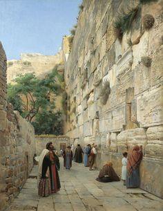 The Wailing Wall, Jerusalem - Gustav Bauernfeind