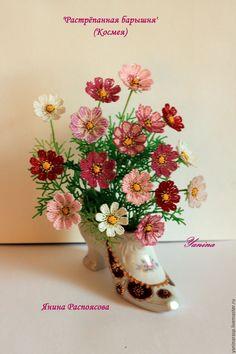 """Купить Композиция из бисера """"Растрёпанная барышня"""" (космея) - букет из бисера, букет цветов, цветочная композиция"""