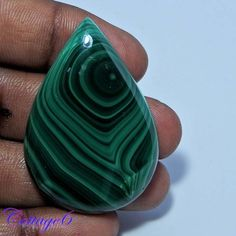 NATURAL GORGEOUS!! GREEN MALACHITE PEAR CABOCHON GEMSTONE 31x45x9mm #UNBRANDED