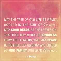 """""""May the tree of our life be firmly rooted in the soil of love. May good deeds be the leaves on that tree. May words of kindness form its flowers, and may peace be its fruit. Let us grow and unfold as one family united in love."""" - Amma (Mata Amritanandamayi)"""