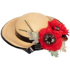 8318475609b Yves Saint Laurent Straw and Black Patent Leather Red Poppy Flower Hat