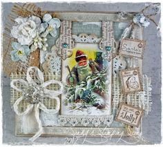 "Christmas Card by LLC DT Member Sandy Mathis, using both image and papers from Inkido's ""Forever Santa"" Collection."