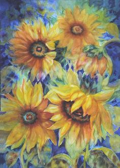 Sunflowers On Blue Painting by Ann Nicholson - Sunflowers On Blue Fine Art Prints and Posters for Sale