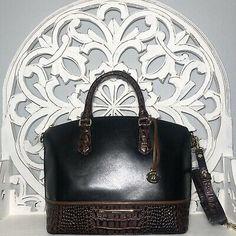 Brahmin Duxbury Satchel Black Tuscan Tri Texture Leather 749034224876 | eBay Brahmin Handbags, Navy And Brown, Crocs, Satchel, Michael Kors, Shoulder Bag, Texture, Best Deals, Leather