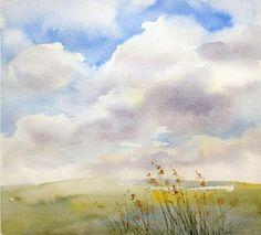 Как нарисовать небо акварелью