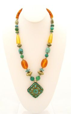 Tibetan Jewelry Ethnic Necklace in Turquoise and Faux Amber $42.00